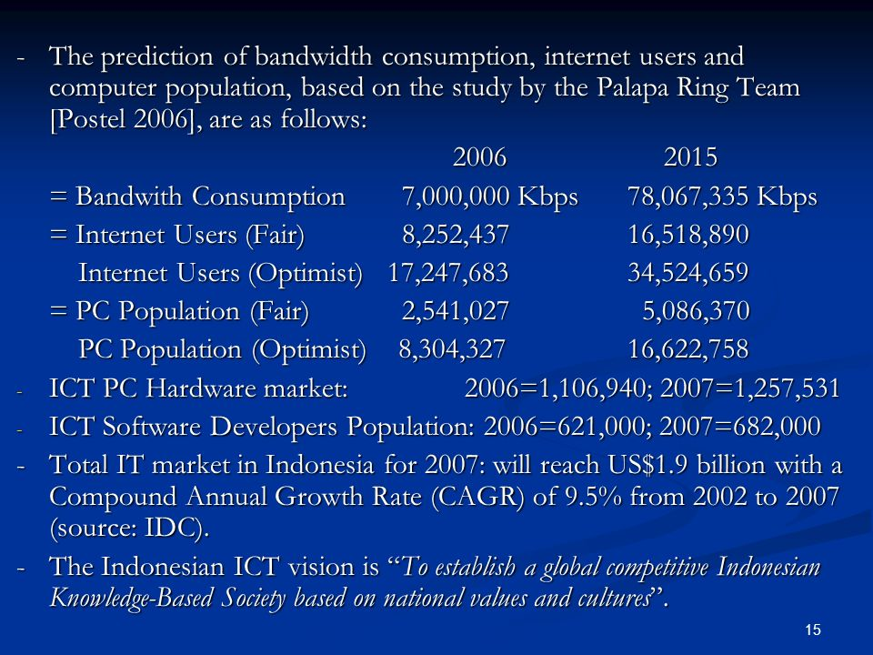 - The prediction of bandwidth consumption, internet users and computer population, based on the study by the Palapa Ring Team [Postel 2006], are as follows: